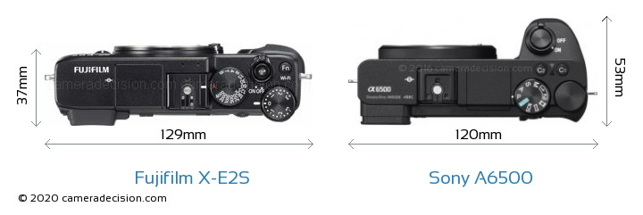 Fujifilm X-E2S vs Sony A6500 Camera Size Comparison - Top View