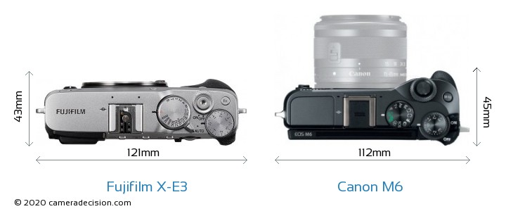 Fujifilm X-E3 vs Canon M6 Camera Size Comparison - Top View