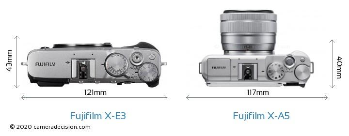 Fujifilm X-E3 vs Fujifilm X-A5 Camera Size Comparison - Top View