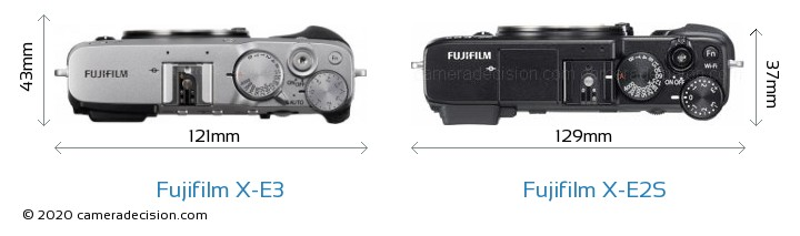 Fujifilm X-E3 vs Fujifilm X-E2S Camera Size Comparison - Top View