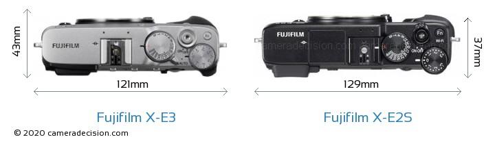 Fujifilm X-E3 vs Fujifilm X-E2S Camera Size Comparison - Top View