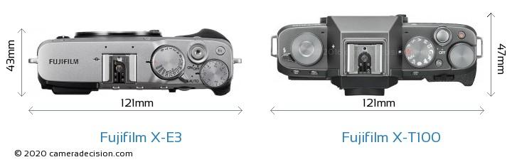 Fujifilm X-E3 vs Fujifilm X-T100 Camera Size Comparison - Top View