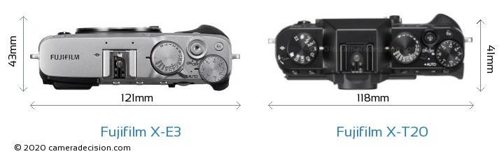 Fujifilm X-E3 vs Fujifilm X-T20 Camera Size Comparison - Top View