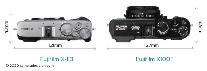 Fujifilm X-E3 vs Fujifilm X100F Camera Size Comparison - Top View