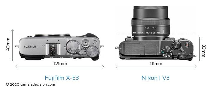 Fujifilm X-E3 vs Nikon 1 V3 Camera Size Comparison - Top View