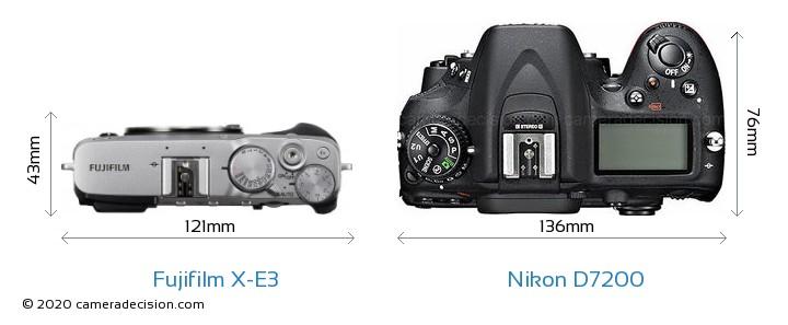 Fujifilm X-E3 vs Nikon D7200 Camera Size Comparison - Top View