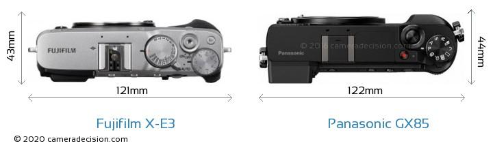 Fujifilm X-E3 vs Panasonic GX85 Camera Size Comparison - Top View
