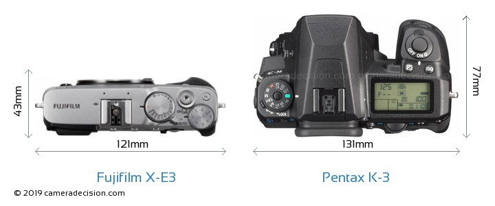 Fujifilm X-E3 vs Pentax K-3 Camera Size Comparison - Top View