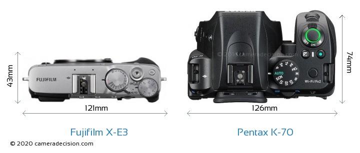 Fujifilm X-E3 vs Pentax K-70 Camera Size Comparison - Top View