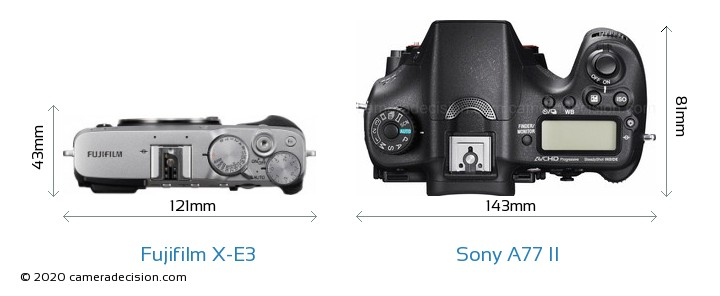 Fujifilm X-E3 vs Sony A77 II Camera Size Comparison - Top View