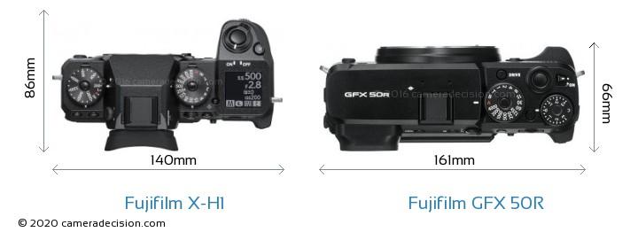 Fujifilm X-H1 vs Fujifilm GFX 50R Camera Size Comparison - Top View
