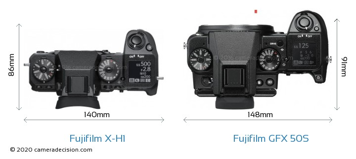 Fujifilm X-H1 vs Fujifilm GFX 50S Camera Size Comparison - Top View