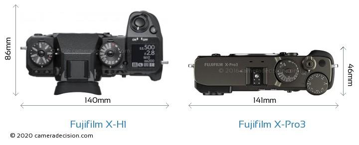Fujifilm X-H1 vs Fujifilm X-Pro3 Camera Size Comparison - Top View