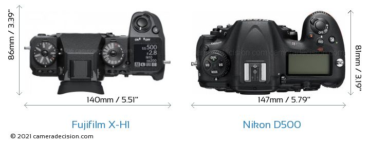 Fujifilm X-H1 vs Nikon D500 Camera Size Comparison - Top View