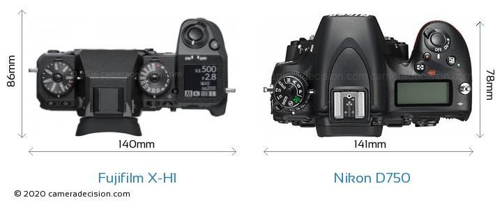 Fujifilm X-H1 vs Nikon D750 Camera Size Comparison - Top View