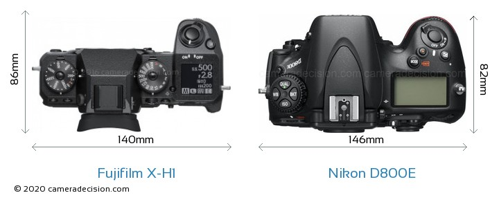 Fujifilm X-H1 vs Nikon D800E Camera Size Comparison - Top View