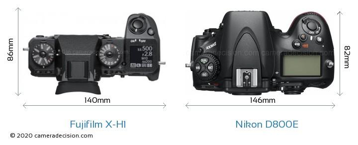 Fujifilm X-H1 vs Nikon D800E Camera Size Comparison - Top View