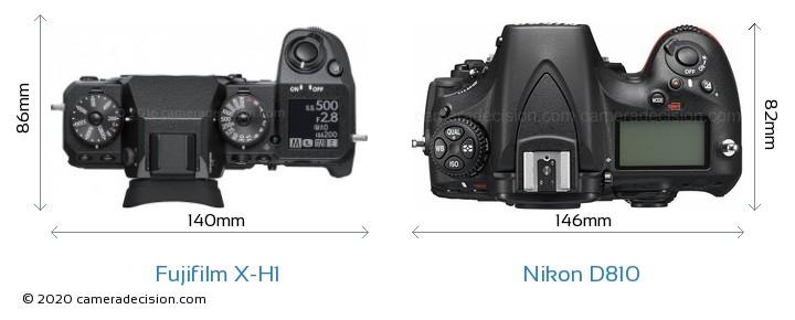 Fujifilm X-H1 vs Nikon D810 Camera Size Comparison - Top View