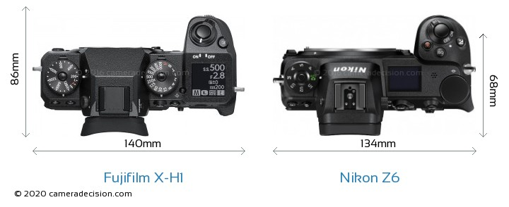 Fujifilm X-H1 vs Nikon Z 6 Camera Size Comparison - Top View
