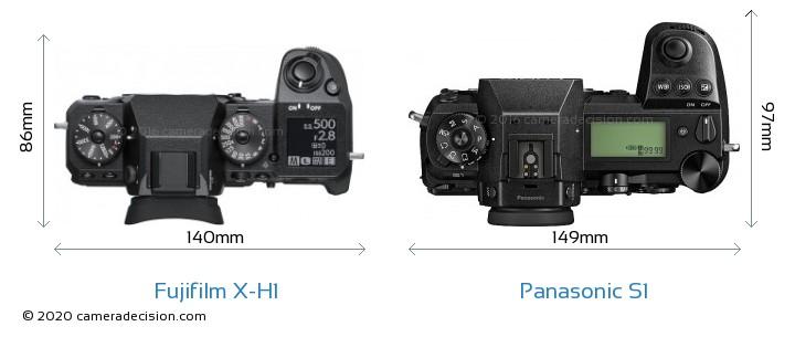 Fujifilm X-H1 vs Panasonic S1 Camera Size Comparison - Top View