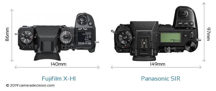 Fujifilm X-H1 vs Panasonic S1R Camera Size Comparison - Top View