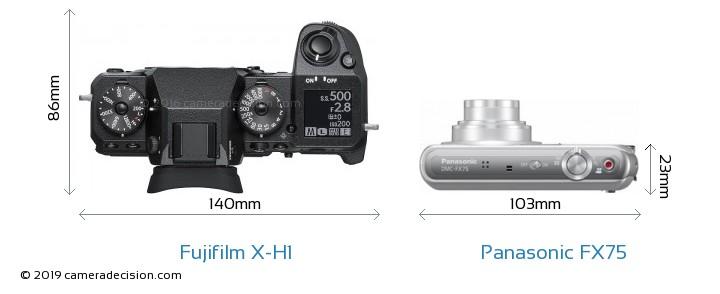 Fujifilm X-H1 vs Panasonic FX75 Camera Size Comparison - Top View