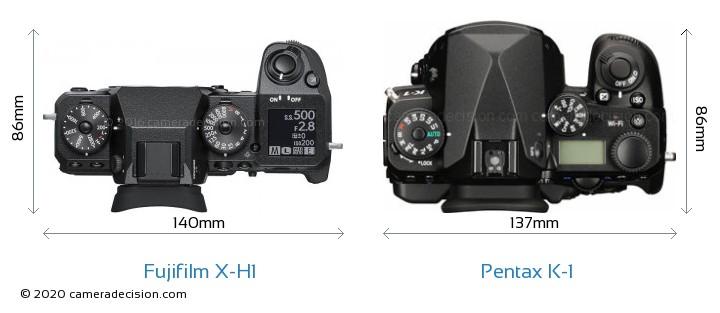 Fujifilm X-H1 vs Pentax K-1 Camera Size Comparison - Top View
