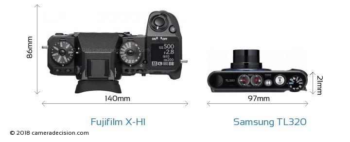 Fujifilm X-H1 vs Samsung TL320 Camera Size Comparison - Top View
