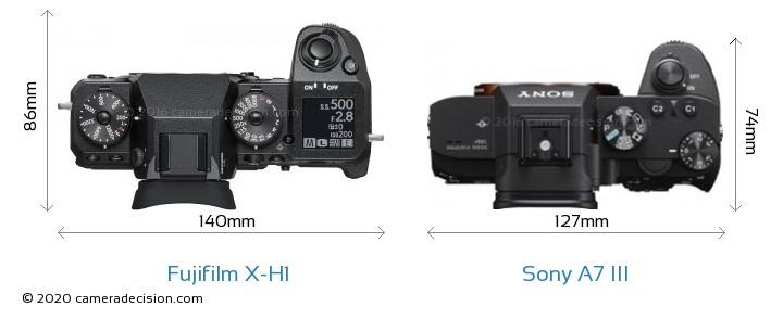 Fujifilm X-H1 vs Sony A7 III Camera Size Comparison - Top View