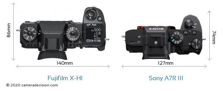 Fujifilm X-H1 vs Sony A7R III Camera Size Comparison - Top View