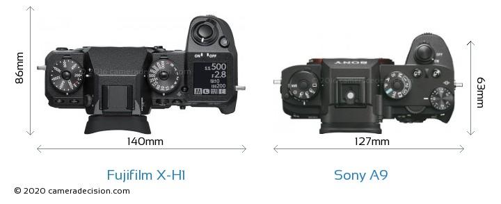 Fujifilm X-H1 vs Sony A9 Camera Size Comparison - Top View