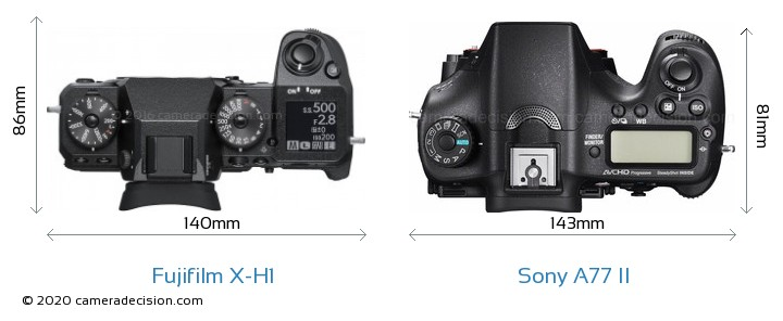 Fujifilm X-H1 vs Sony A77 II Camera Size Comparison - Top View