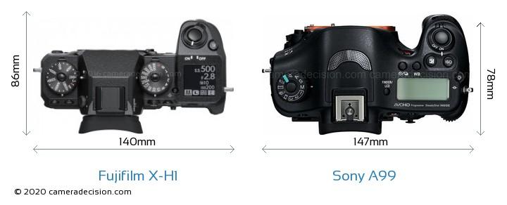 Fujifilm X-H1 vs Sony A99 Camera Size Comparison - Top View