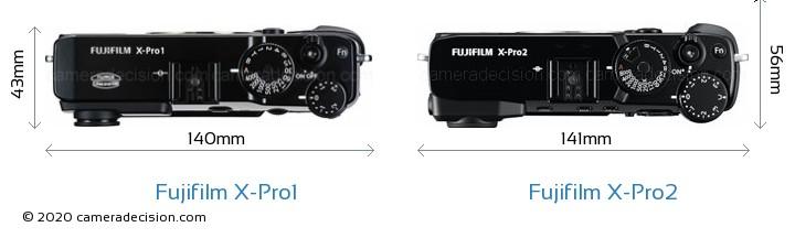 Fujifilm X-Pro1 vs Fujifilm X-Pro2 Camera Size Comparison - Top View