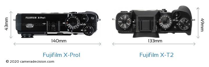 Fujifilm X-Pro1 vs Fujifilm X-T2 Camera Size Comparison - Top View