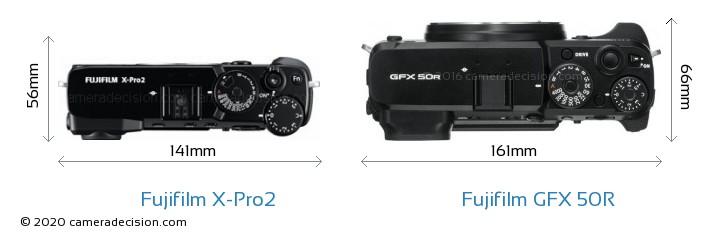Fujifilm X-Pro2 vs Fujifilm GFX 50R Camera Size Comparison - Top View