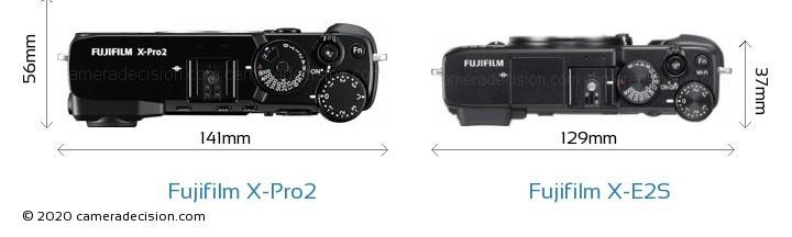 Fujifilm X-Pro2 vs Fujifilm X-E2S Camera Size Comparison - Top View