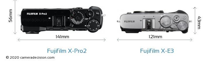 Fujifilm X-Pro2 vs Fujifilm X-E3 Camera Size Comparison - Top View