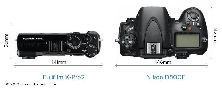 Fujifilm X-Pro2 vs Nikon D800E Camera Size Comparison - Top View