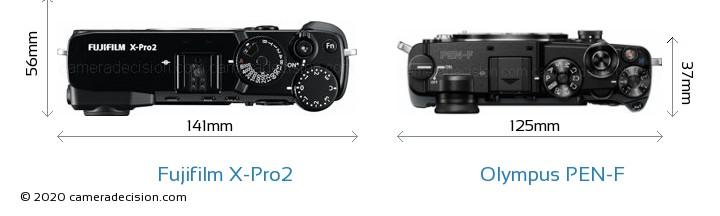 Fujifilm X-Pro2 vs Olympus PEN-F Camera Size Comparison - Top View