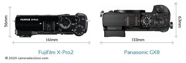 Fujifilm X-Pro2 vs Panasonic GX8 Camera Size Comparison - Top View