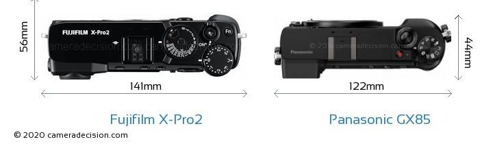 Fujifilm X-Pro2 vs Panasonic GX85 Camera Size Comparison - Top View