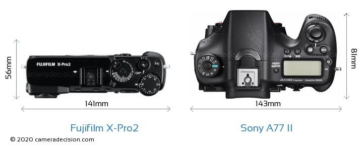 Fujifilm X-Pro2 vs Sony A77 II Camera Size Comparison - Top View