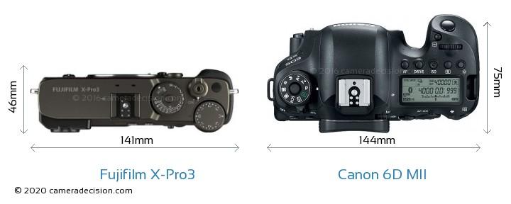 Fujifilm X-Pro3 vs Canon 6D MII Camera Size Comparison - Top View