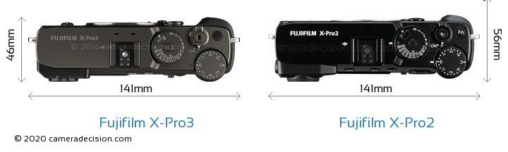 Fujifilm X-Pro3 vs Fujifilm X-Pro2 Camera Size Comparison - Top View