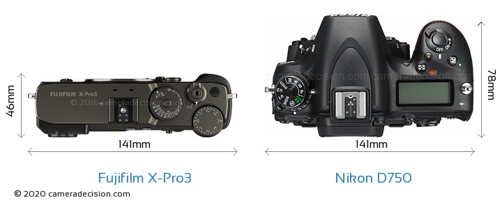 Fujifilm X-Pro3 vs Nikon D750 Camera Size Comparison - Top View