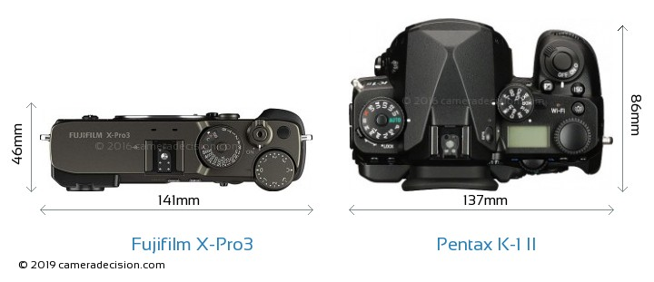 Fujifilm X-Pro3 vs Pentax K-1 II Camera Size Comparison - Top View