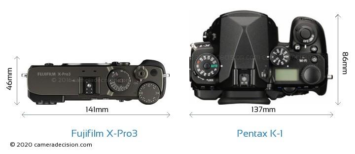 Fujifilm X-Pro3 vs Pentax K-1 Camera Size Comparison - Top View