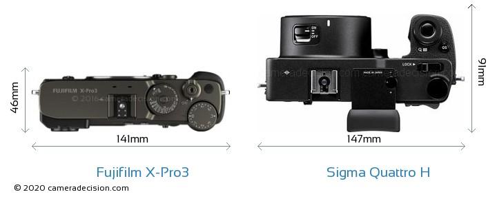 Fujifilm X-Pro3 vs Sigma Quattro H Camera Size Comparison - Top View
