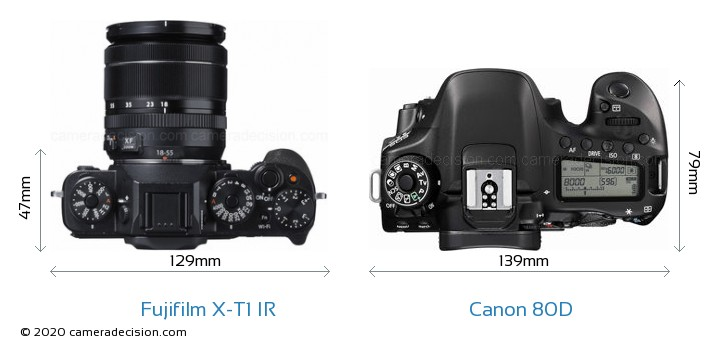 Fujifilm X-T1 IR vs Canon 80D Camera Size Comparison - Top View